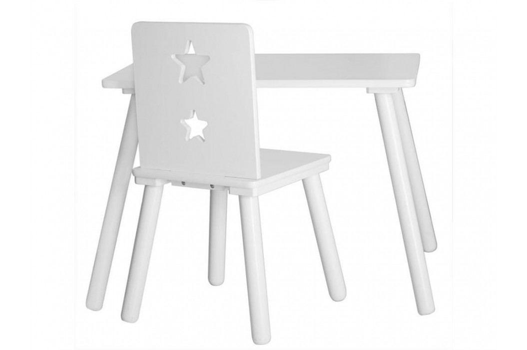 KIDS CONCEPT Sitzgruppe mit 2 Stühlen und 1 Kindertisch Weiß STAR Kinderstühle