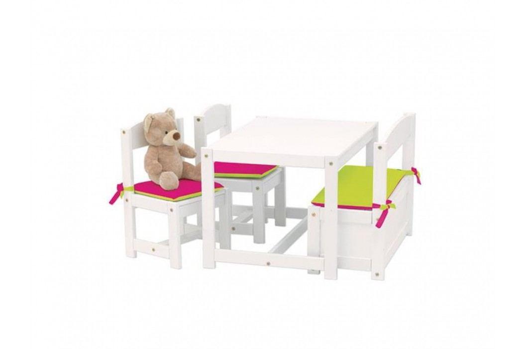 HOPPEKIDS Kinder Sitzgruppe Weiß 1 Bank 2 Stühle und 1 Tisch 4-Teilig 36-4270-82-001 Kinderstühle