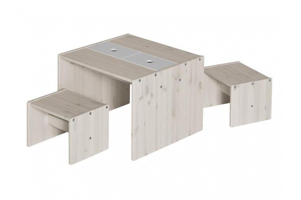 FLEXA Sitzgruppe mit 1 Tisch und 2 Hockern für Kinder Kinderstühle