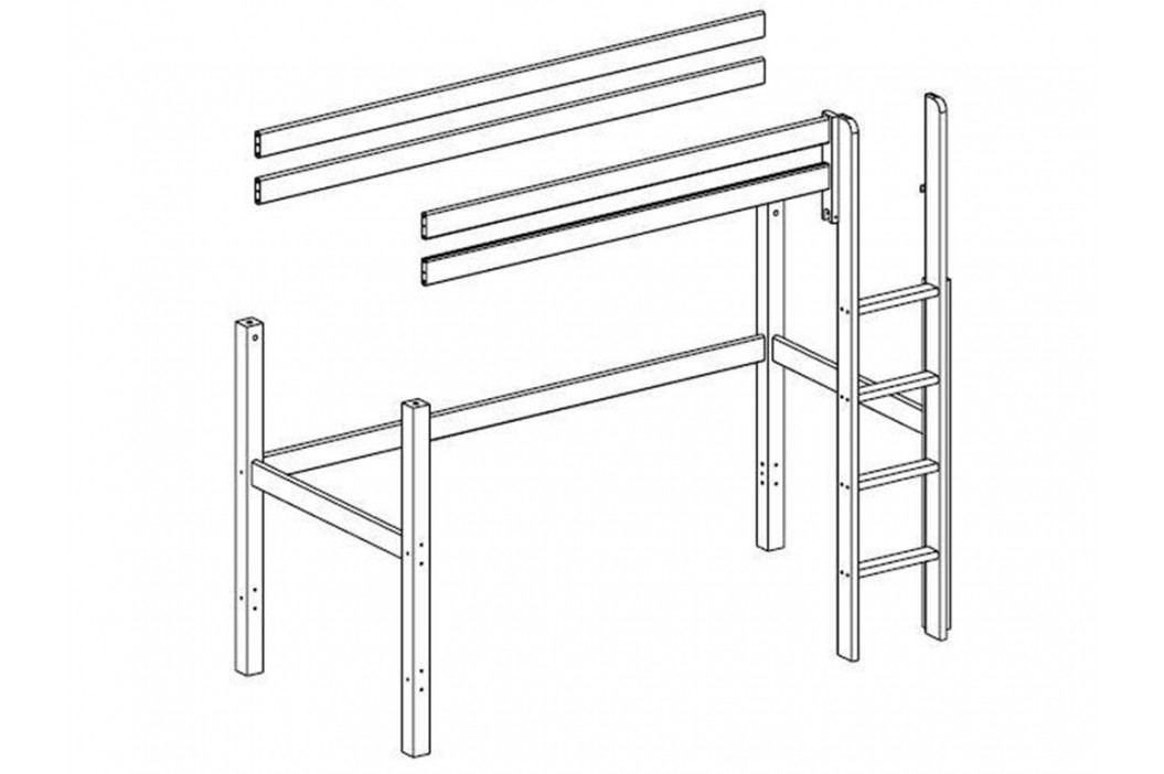 FLEXA BASIC Trendy Baukomponente für Hochbett mit Gerader Leiter Weiß lasiert lackiert 80-16501-2 Kinderbetten
