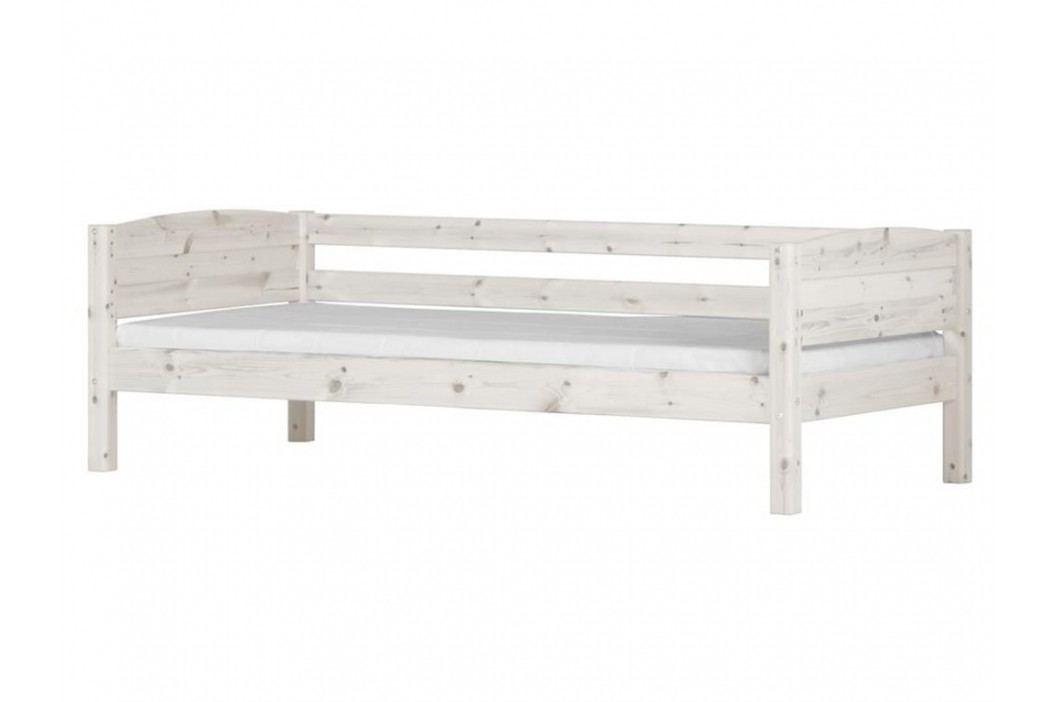 FLEXA BASIC Trendy Bettliege mit Rückenleiste und Seitenfüllung Weiß Kinderbetten