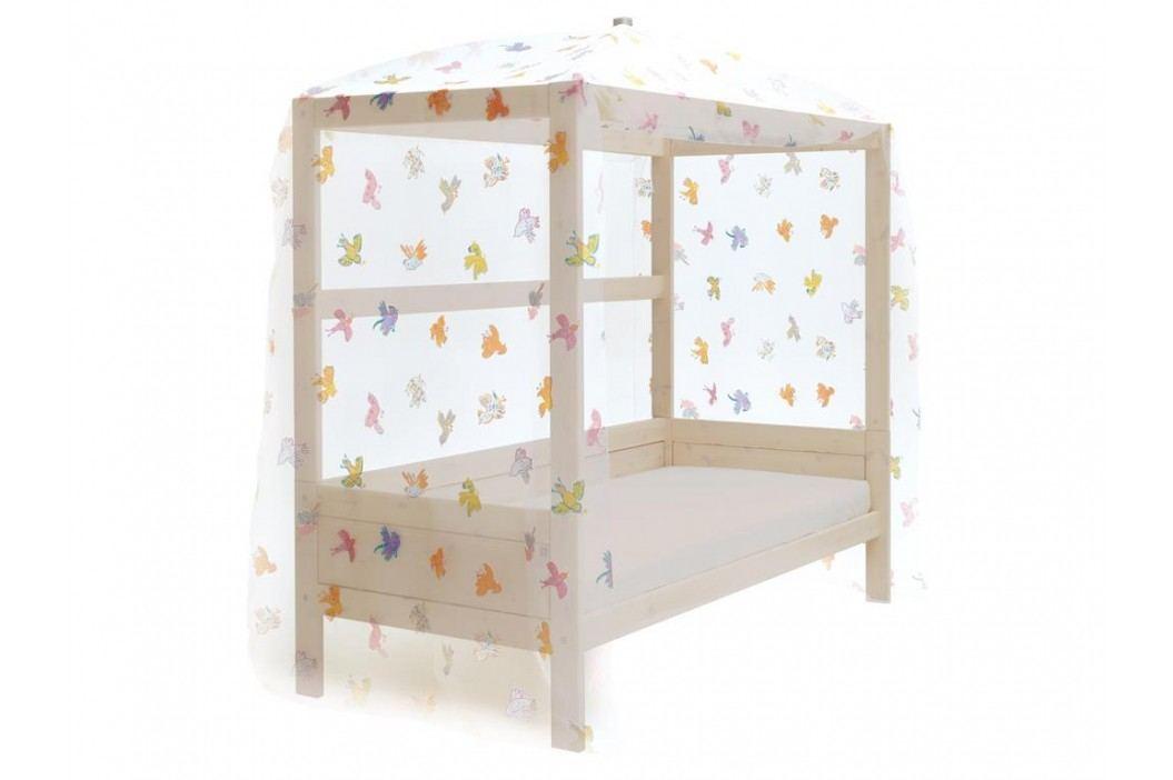 LIFETIME Original Himmelbett Weiß mit Stoff FREEBIRD und Deluxe Lattenrost Kinderbetten