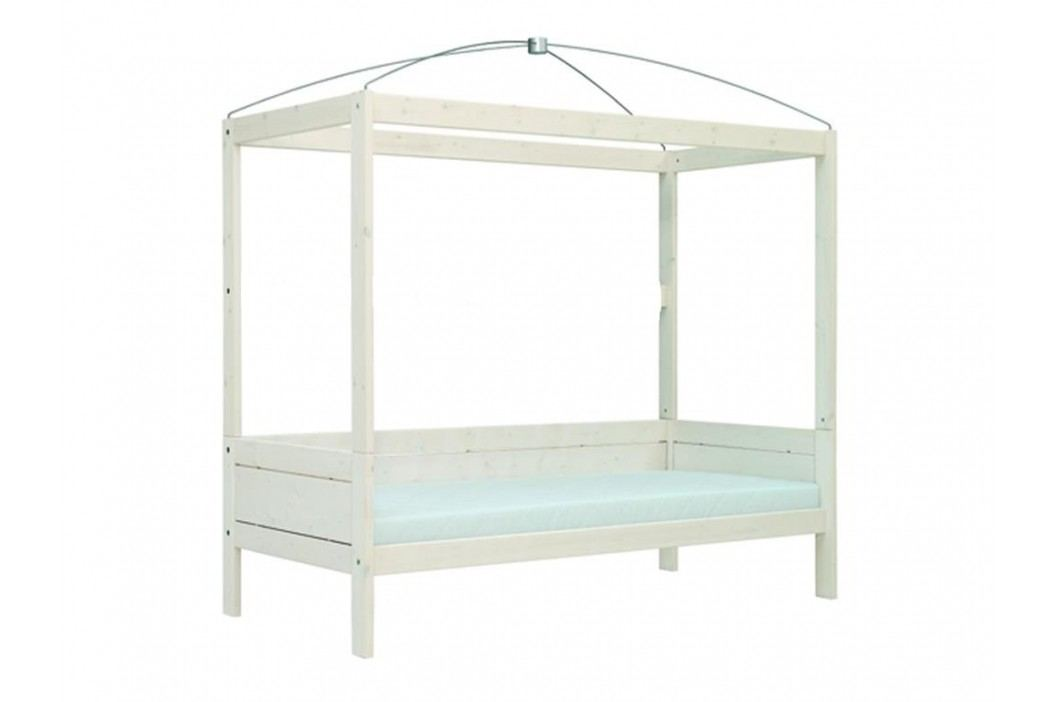 LIFETIME Original Himmelbett Weiß mit Rolllattenrost 4634 4634-01W Kinderbetten