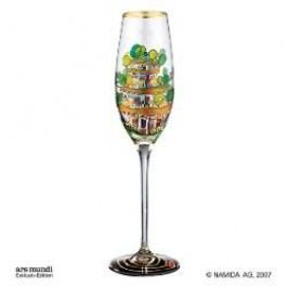 Königlich Tettau Hundertwasser Champagne Glasses Champagne Glass 'The Houses' Height 24 cm, Capacity 0.15 l