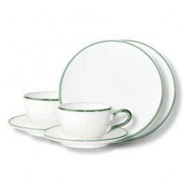 Gmundner Keramik Grüner Rand Tableware set 'Breakfast for two'