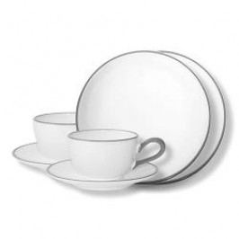 Gmundner Keramik Grauer Rand Tableware set 'Breakfast for two'