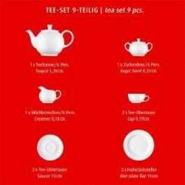 Arzberg Porcelain Form 1382 white Tea Set in red Gift Box 9 pcs