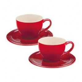 Le Creuset Pottery Breakfast Cappuccino Cup with Saucer Cerise Set of 2 / 0,2 L