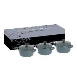 Le Creuset Pottery Petite Casserole Petite Casserole Black-Silver Set of 3 pcs in Gift Box 10x5 cm / 0,2 L