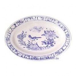 Gien Oiseau Bleu monochrome Oval Platter 37 x 26 cm