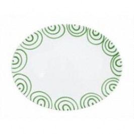 Gmundner Keramik Grüngeflammt Platter oval 28 cm