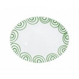 Gmundner Keramik Grüngeflammt Platter oval 33 cm