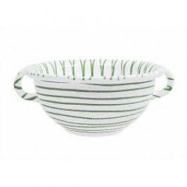 Gmundner Keramik Grüngeflammt Bowl Weitling with handles 17 cm
