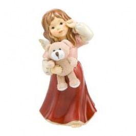 Goebel Christmas angels - Bordeaux Decorative figurine 'Cuddly friend', angel with a plush teddy bear, h: 24.5 cm