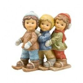 Goebel Nina & Marco - Nice white winter Decorative figurine 'Three persons have a funny ride', h: 11 cm