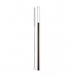 Eisch Gentleman Trinkhalm Glas Platin mit Reinigungsbürste - im Geschenkkarton l: 20 cm / d: 9 mm