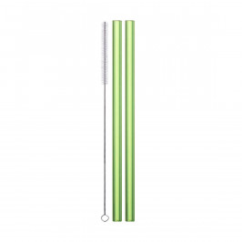Eisch Gentleman Trinkhalm Glas Grün Set 2-tlg. mit Reinigungsbürste - im Geschenkkarton l: 20 cm / d: 9 mm