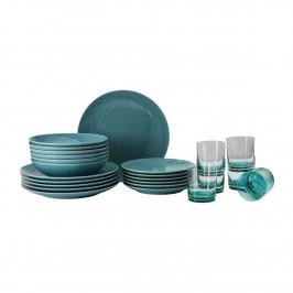Rosenthal Mesh Colours Aqua Teller-Set mit Glas 24-tlg.