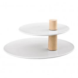 Thomas ONO weiss / Holz Etagere 2-tlg. Oberer Teller 22 cm / Unterer Teller 32 cm