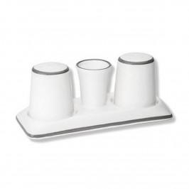 Gmundner Keramik Grauer Rand Salz/Pfeffer Set Gourmet