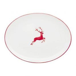 Gmundner Keramik Rubinroter Hirsch Platte oval 28x21x2,3 cm