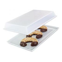 Arzberg Küchenfreunde weiß / Tric weiss Platte mit Deckel transparent im Geschenkkarton 21x33cm