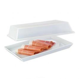 Arzberg Küchenfreunde weiß / Tric weiss Platte mit Deckel transparent im Geschenkkarton 15x20cm