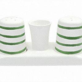 Gmundner Keramik Grüngeflammt Salz / Pfeffer Set glatt h: 6,8 cm