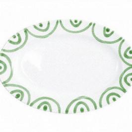 Gmundner Keramik Grüngeflammt Platte oval mit Fahne Gourmet 21x14x2,1 cm