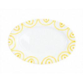 Gmundner Keramik Gelbgeflammt Platte oval mit Fahne Gourmet 21x14x2,1 cm