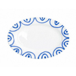 Gmundner Keramik Blaugeflammt Platte oval mit Fahne Gourmet 21x14x2,1 cm