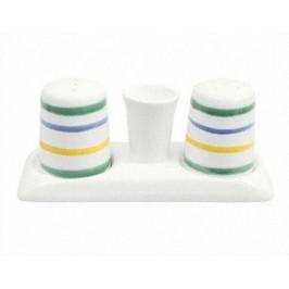 Gmundner Keramik Buntgeflammt Salz/Pfefferstreuer Garnitur mit Platte