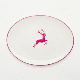 Gmundner Keramik Bordeauxroter Hirsch Platte oval 28x21x2,3 cm