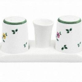 Gmundner Keramik Streublumen Salz/Pfeffer Garnitur glatt mit Platte