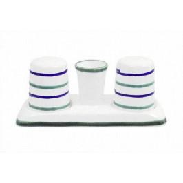 Gmundner Keramik Traunsee Salz/Pfefferstreuer Garnitur glatt mit Platte