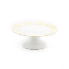 Gmundner Keramik Gelbgeflammt Aufsatz Flach / Platte auf Fuß d: 24 cm / h: 8,8 cm