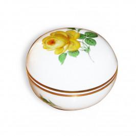 Meissen Neuer Ausschnitt - Rose mitte gelb mit Goldrand Dose h: 6 cm / d: 9 cm