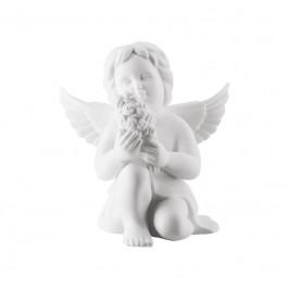 Rosenthal Engel Engel mit Blumen klein weiß matt 6 cm