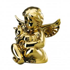 Rosenthal Engel Engel mit Katze mittel gold titanisiert 10,5 cm