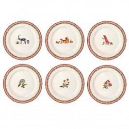 Gien 'Jardin Imaginaire' 6x Frühstücksteller Motive sortiert 23,2 cm