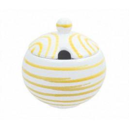 Gmundner Keramik Gelbgeflammt Zuckerdose glatt mit Ausschnitt d: 10 cm / h: 11 cm