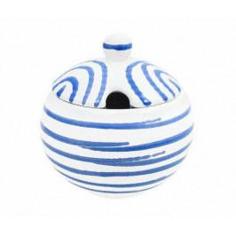 Gmundner Keramik Blaugeflammt Zuckerdose glatt mit Ausschnitt d: 10 cm / h: 11 cm