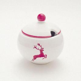 Gmundner Keramik Bordeauxroter Hirsch Zuckerdose glatt mit Ausschnitt d: 10 cm / h: 11 cm