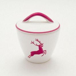 Gmundner Keramik Bordeauxroter Hirsch Zuckerdose Gourmet d: 9 cm / h: 10,5 cm