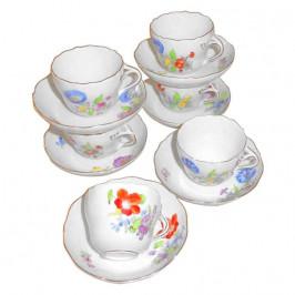 Meissen  'Neuer Ausschnitt - Blume 3 mitte bunt mit Goldrand' Espressotassen-Set 6 Personen 12-tlg.