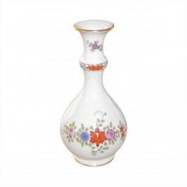 Meissen  'Neuer Ausschnitt - Indische Blumenmalerei zweiteilig bunt Kupferfarben mit Goldrand' Vase 18 cm