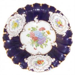 Meissen  'Blume Kobalt mit Goldrand' Prunkschale mit Zertifikat 30 cm