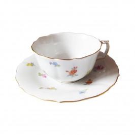Meissen Neuer Ausschnitt - gestreute Blümchen bunt mit Goldrand Tee-Obertasse 0,20 L mit Untertasse Set 12-tlg.