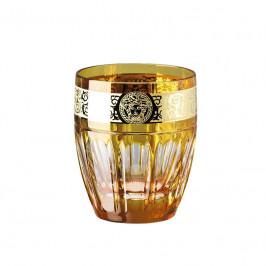 Rosenthal Versace Gala Prestige - Amber Medusa Whisky Becher Glas 0,32 L / h: 9,5 cm