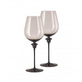 Rosenthal Versace Medusa Lumiere Haze Rotwein Bordeaux Glas grau h: 280 mm / 990 ml Set 2-tlg.